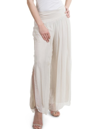 Gigi Moda Solid Silk Pant w/Side Split Cream