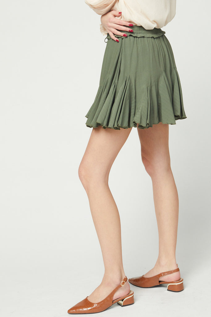 The Kelly Mini Skirt in Olive