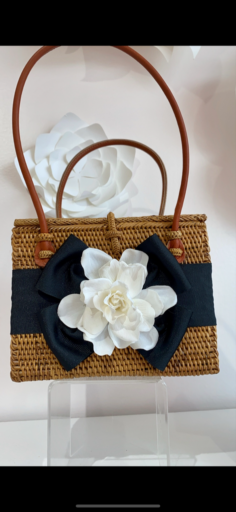 The Emory Magnolia Square Purse w/ Black Ribbon