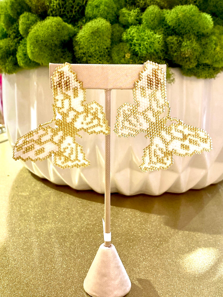 Mariposa White Butterfly Earrings