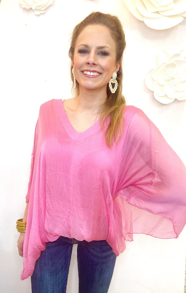 Gigi Moda V- Neck Blouse W/ Balloon Hem Hot Pink