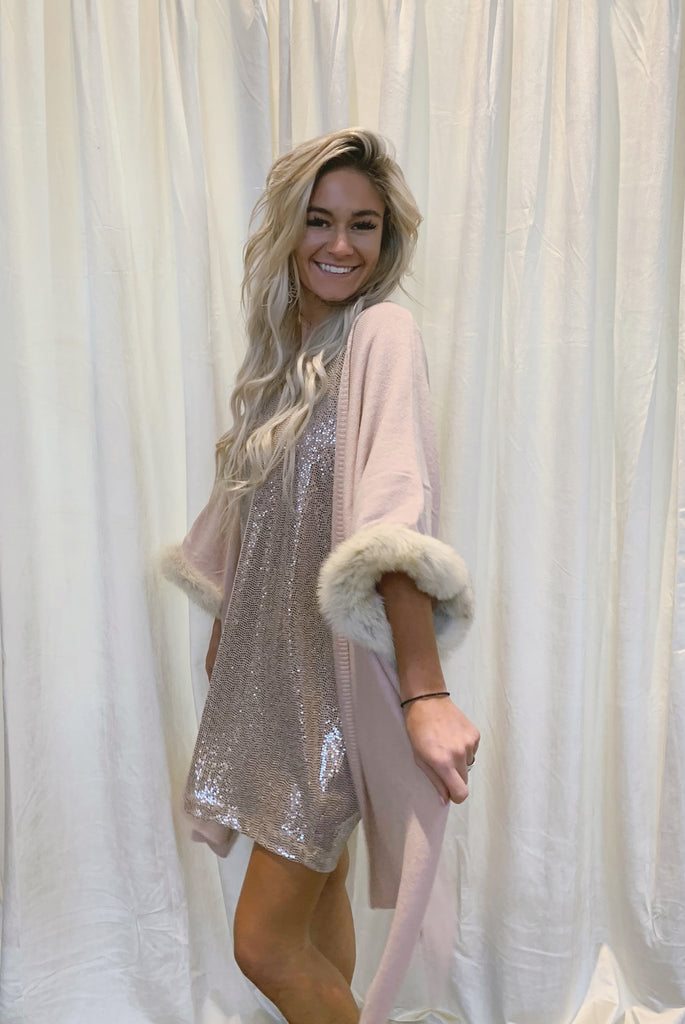 Swept Off Your Feet Fox Fur Cape Dusty Pink