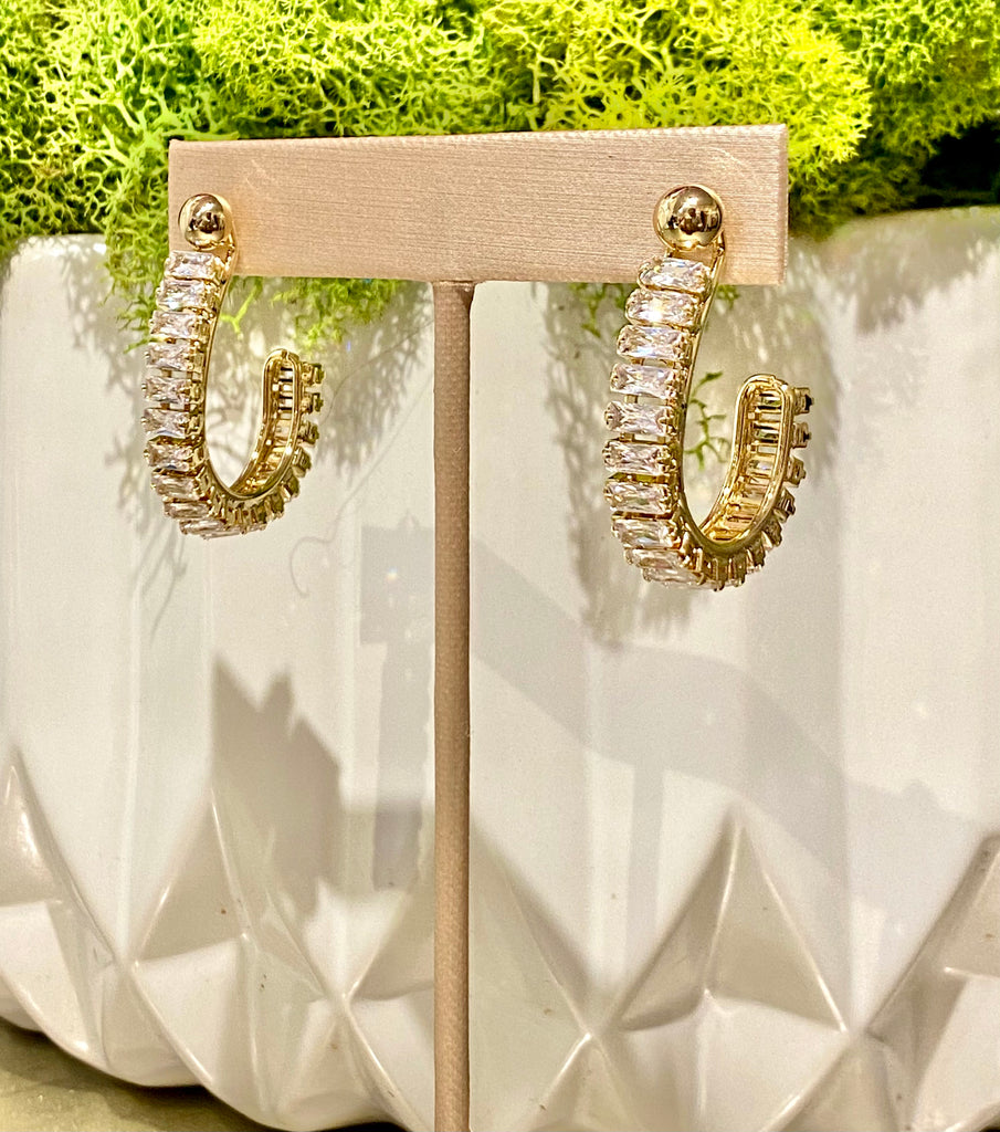 Sarah Crystal Hoop Earrings