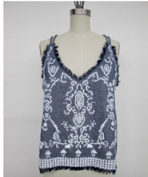 Beaded Beauty Cami in Denim