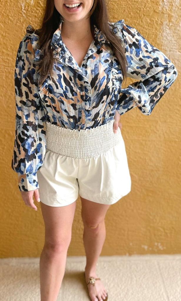 Cream Faux Leather Shorts