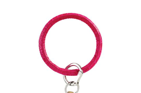 O-Venture Pink Topaz Croc Leather Key Ring