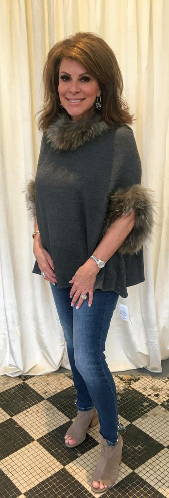 Knit Poncho w/Raccoon Fur Trim Charcoal