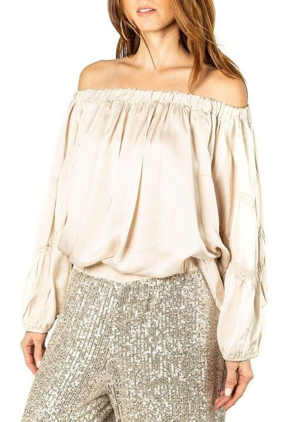 Sofia Raw Edge Collar Silk Blouse in Champagne