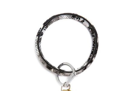 O-Venture Tuxedo Snakeskin Leather Key Ring