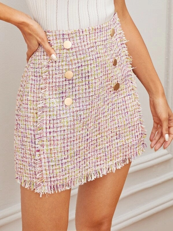 Cotton Candy Tweed Skirt