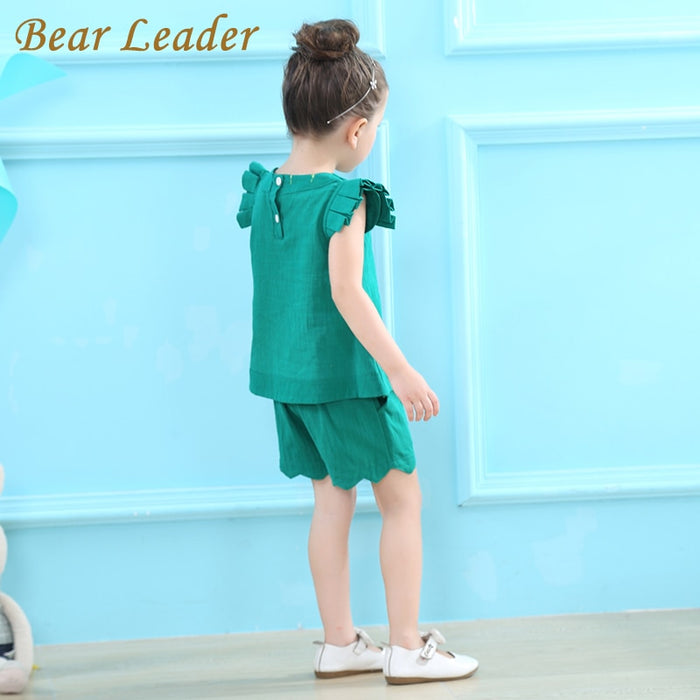 Toddler Girls Clothing Set Solid O-Neck T-shirts+Pants