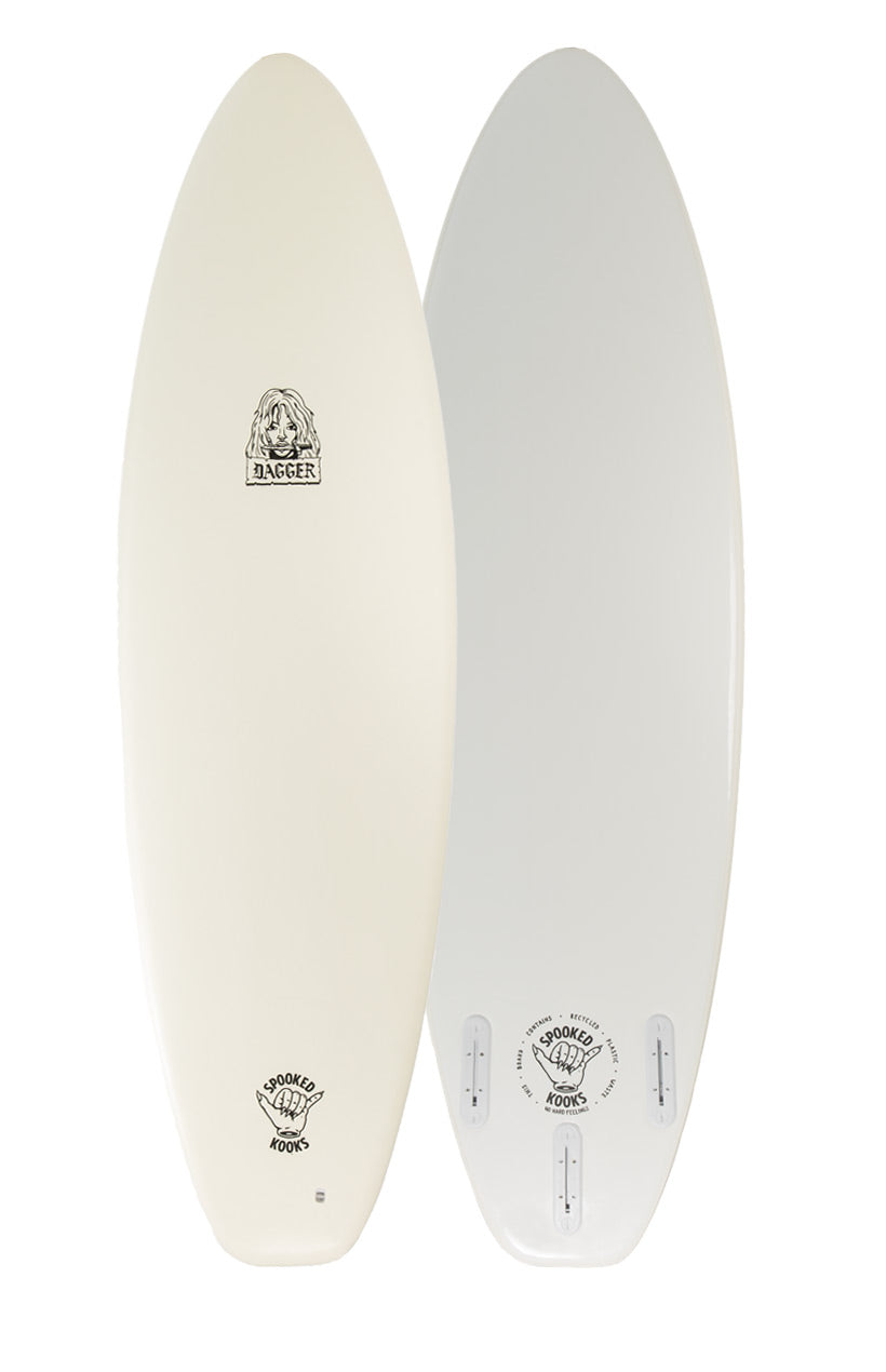 "Front-on product image of DAGGER 6'0"" softboard in 'Off White' Colour"