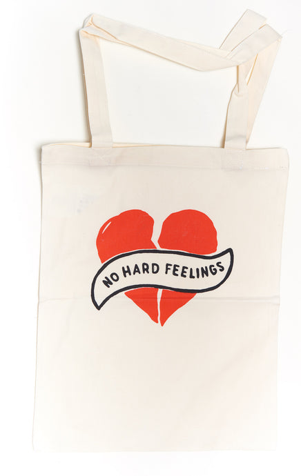 NO HARD FEELINGS Heart Tote Bag