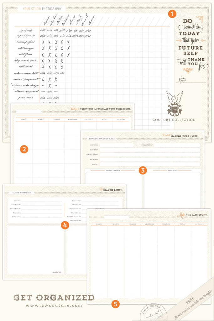 Get Organized - January's free download - Photo Studio Worksheets