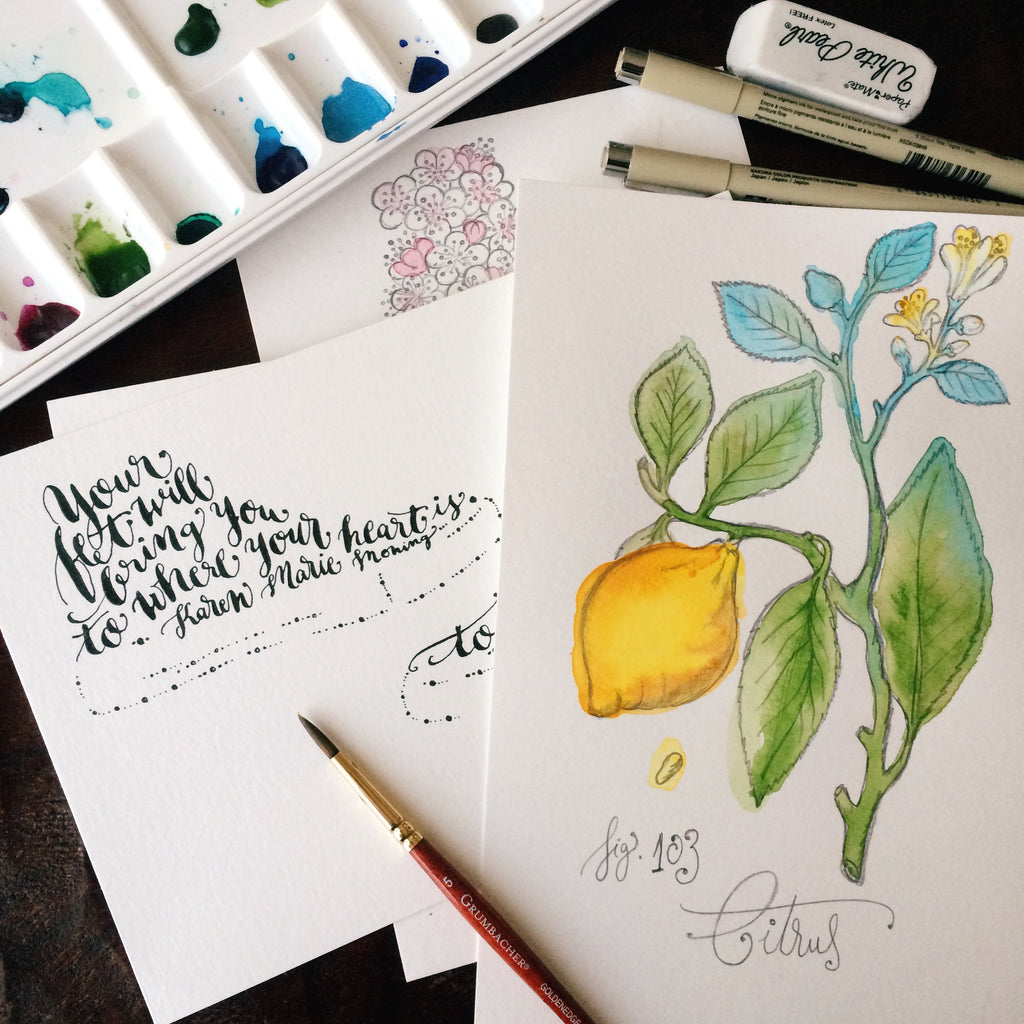 "handlettering and watercolor botanical illustration - ""Your feet will bring you to where your heart is."" ~KMM"