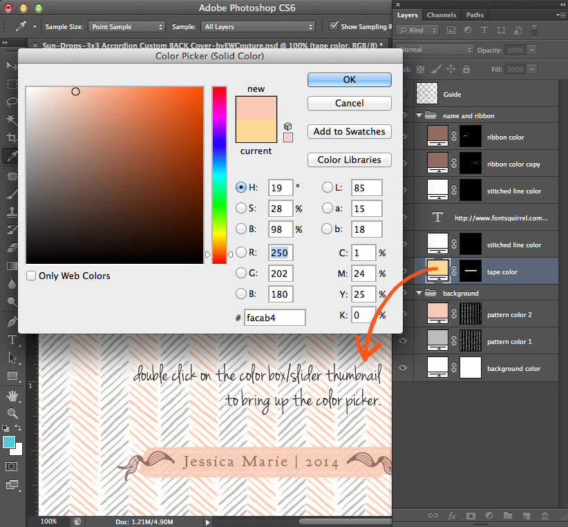 customizing colors - templates for photographers -  ew couture collection