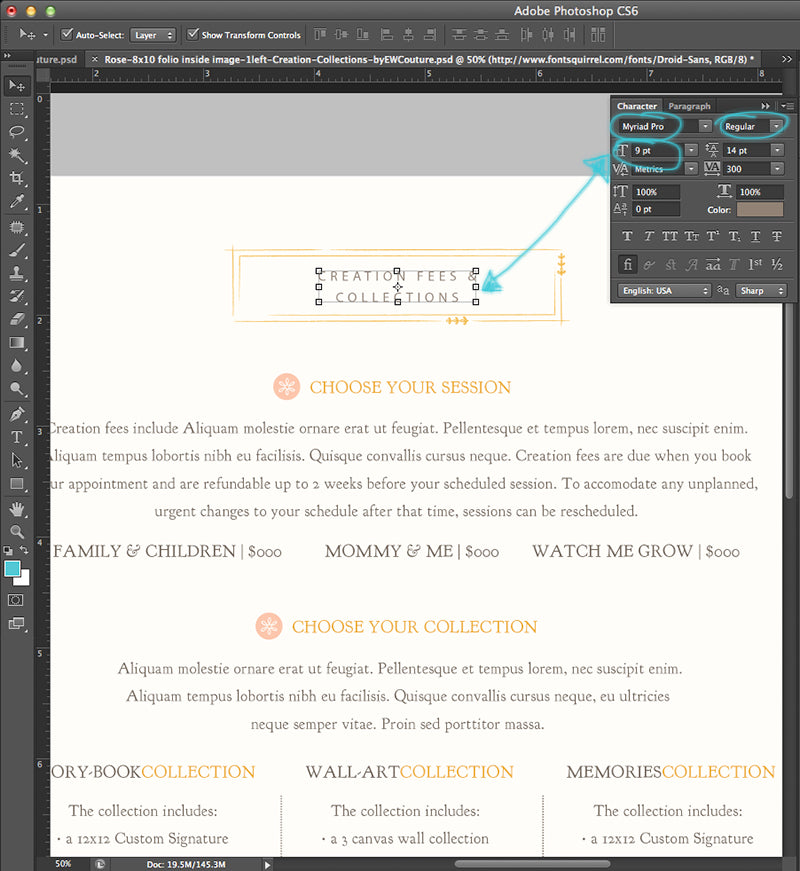 changing the font family and style, and the font size