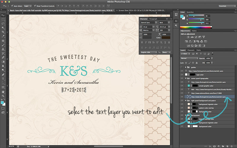 customizing text - templates for photographer - ew couture collection