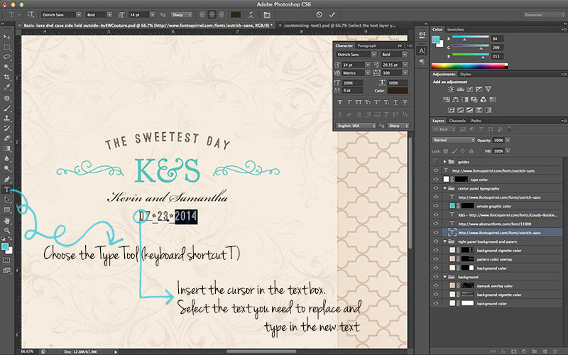 customizing text - templates for photographers - ew couture collection