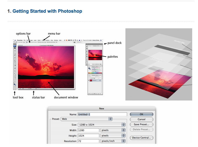 awesome compilation of 12 Beginner Tutorials for Getting Started With Photoshop by Jacob Gube on Mashable
