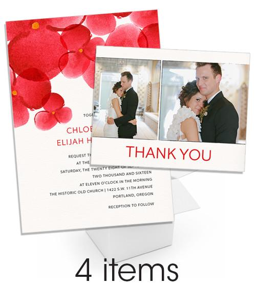 Red Watercolor Blooms Wedding Card Invite Bundle