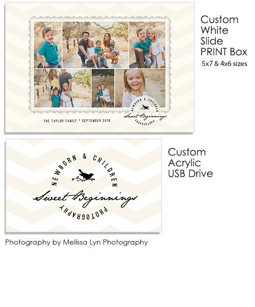 Calendar Print 5x7 and 4x6 White Slide Print Box, Acrylic USB and Custom Prints