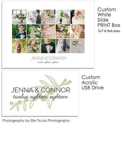 Collage 5x7 and 4x6 White Slide Print Box, Acrylic USB and Custom Prints