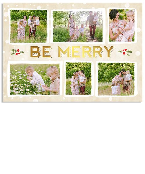 Adorned 7x5 Be Merry FOIL PRESS Card