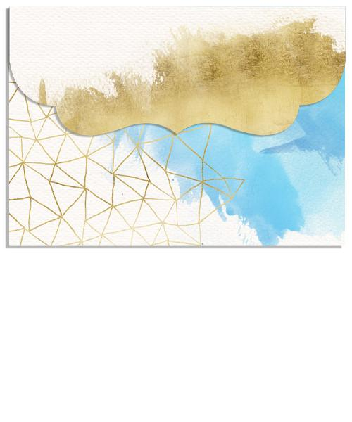 Brushed Gold and Watercolors Photo Collage 7x5 Top Folded Luxe Card