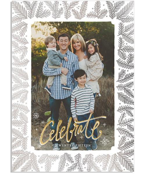 Celebration 5x7 Pine Border FOIL PRESS Card