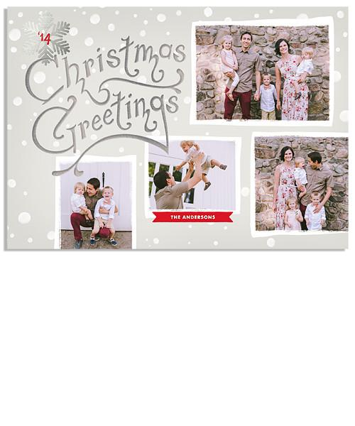 Silver Bells 7x5 Christmas Greetings FOIL PRESS Card