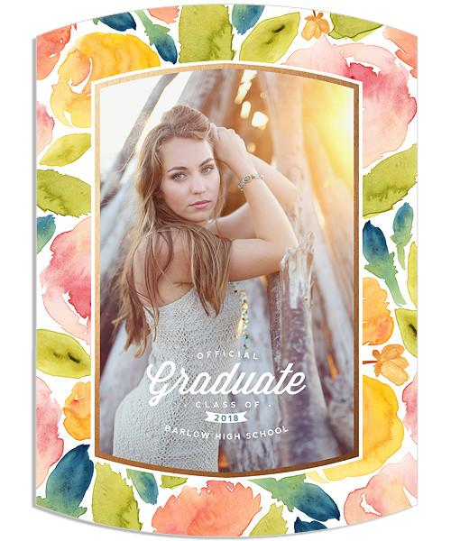 Dusty Pink Senior Announcement 5x7 Arc Luxe and Flat Card