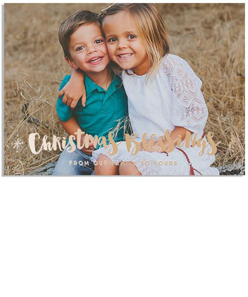 Family 7x5 Christmas Blessings FOIL PRESS Card