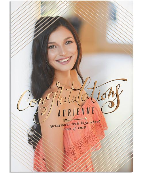 Grad Party 5x7 Criss Cross Vertical FOIL PRESS Card