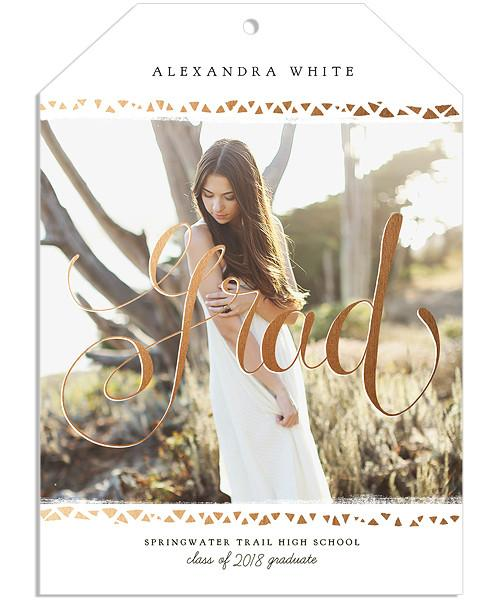 Love Life Senior Announcement 5x7 Gift Tag Vertical Luxe and Flat Card