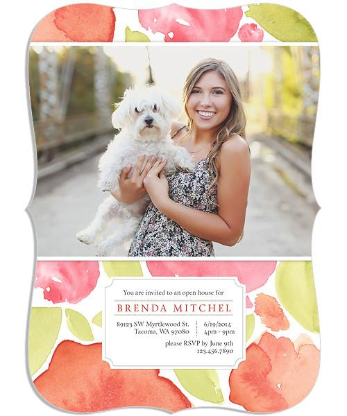 Watercolor Blooms Senior Announcement 5x7 Wave Luxe and Flat Card