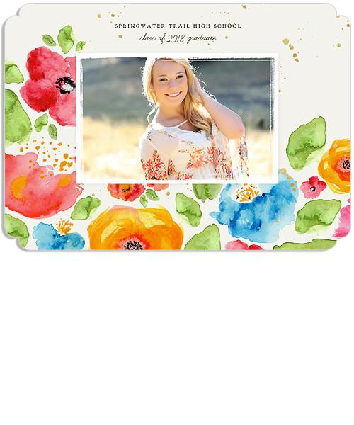Wildflower Fields Senior Announcement 5x7 Cleft Luxe and Flat Card