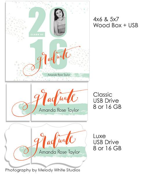 It's Your Year 5x7 and 4x6 Wood Print Box and USB Drives
