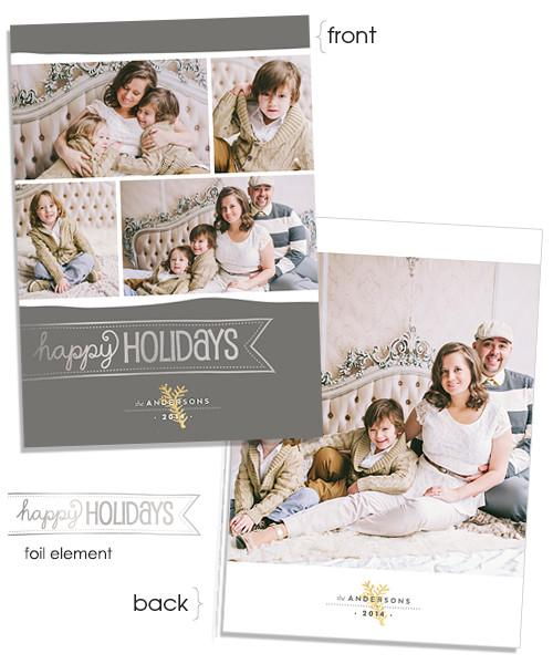Holiday Style 5x7 Happy Banner FOIL PRESS Card