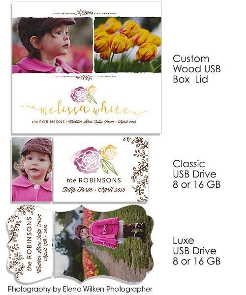 Minis Marketing Custom Wood Photo/USB Box and USB Drives with Images