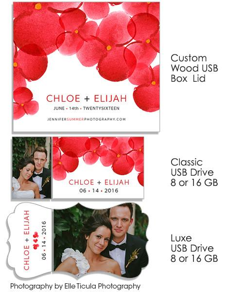 Red Watercolor Blooms Custom Wood Photo/USB Box and USB Drives