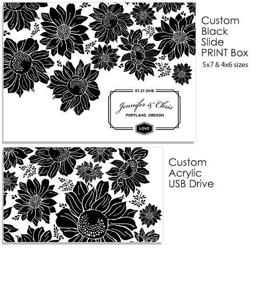 Sunflowers 5x7 and 4x6 Black Slide Print Box, Acrylic USB and Custom Prints