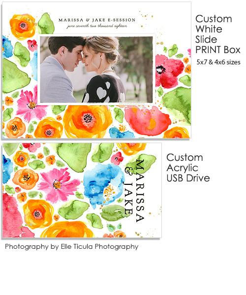 Wildflower Fields 5x7 and 4x6 White Slide Print Box, Acrylic USB and Custom Prints