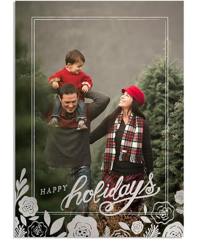 Christmas Time 5x7 Floral Arrangement Folded FOIL PRESS Card