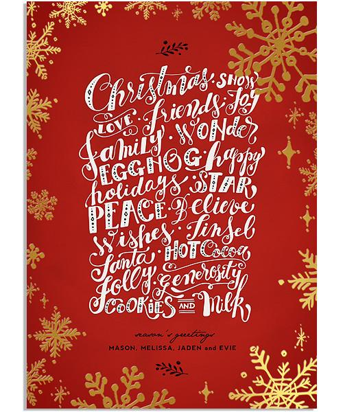 Holiday Treats 5x7 Snowflake Border FOIL PRESS Card