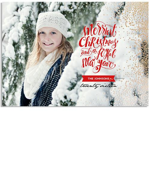 Merry Wishes 7x5 Falling Mist FOIL PRESS Card