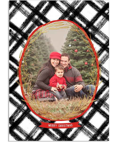 Simple Plaid 5x7 Blooming Circlet FOIL PRESS Card