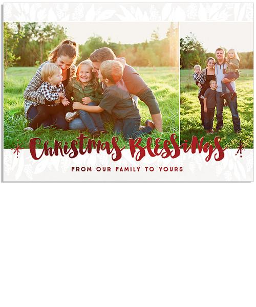 Winter Greens 7x5 Christmas Blessings FOIL PRESS Card