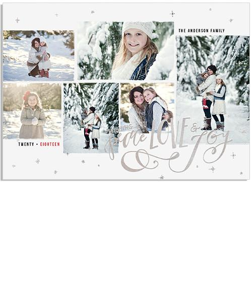 Winter Skies 7x5 Sparkling Joy Folded FOIL PRESS Card