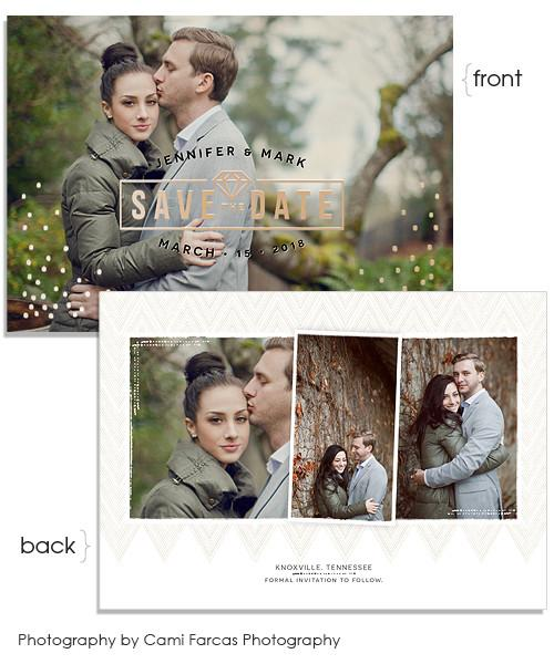 Inky Details 7x5 Engagement Diamond FOIL PRESS Card